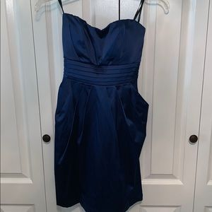 Navy strapless cocktail dress